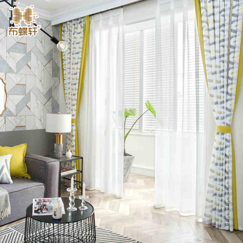 2018 otoño llegada estilo mediterráneo cortina de lujo amarillo giros costura imitación de lino cortinas para la sala del Hotel