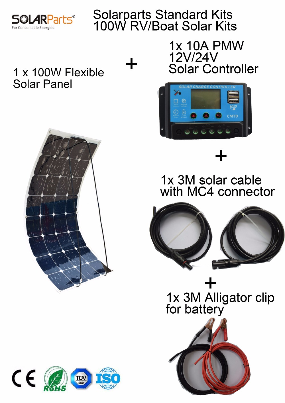 Solarparts Standard Kits 100W DIY RV Boat Kits Solar System 100W flexible solar panel controller cable