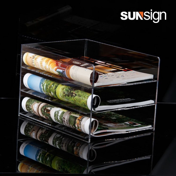 Custom 3 Layers Acrylic File Holder A4 Brochure Holders a4 4 layer half page brochure holder book data file holder display rack acrylic data file brochure display stand