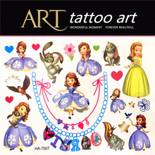 Princess Sophia Children Temporary Tattoos Body Art Waterproof Henna Tattoo Flash Tattoos, Animal Modelling Wall Stickers