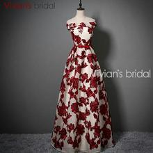 Vivian's Bridal Lace A Line Evening Dress Off Shoulder Sleeveless Burgundy Prom Dresses Party Dresses ED208