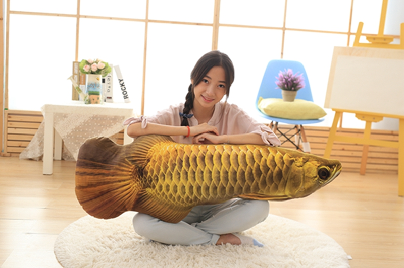 big new creative plush fish toy soft golden Arowana pillow doll gift about 120cm цена