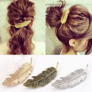 Fashion Women Leaf Feather Hair Clip Hai