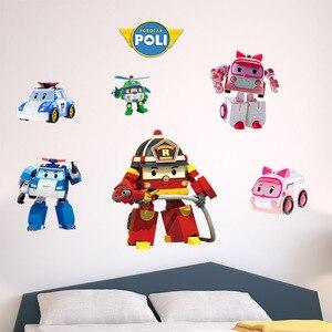 Мультяшные Наклейки на стены автомобиля Poli, декоративные наклейки для дома, детской комнаты, рождественский подарок, 45 см x 60 см, 319