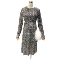 Spring Sparkle Sequined Dress Women Elegant Lady Long Shimmer Dresses Slim Women O Neck Long Sleeve