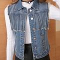 2016 Novas Mulheres Da Moda Denim Colete Colete Jeans Colete Chalecos Mujer Tassel Moda Feminina Franja Jaqueta Casaco Curto Oco Venda Quente