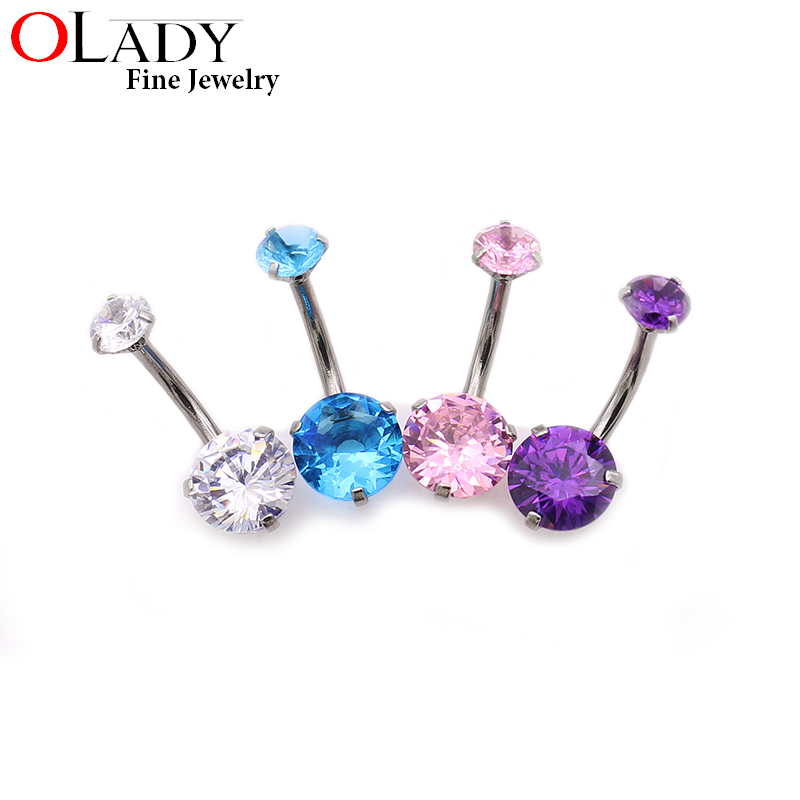 Putaran Zirkon 316L Stainless Steel Navel Belly Button Cincin Body - Perhiasan fashion - Foto 4