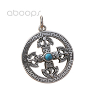 Vintage 925 Sterling Silver Round Pendant with Vajra Dorje for Men Women Free Shipping