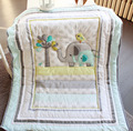 New 7 pcs baby bedding set baby crib bedding sets elephant cartoon baby nursery bedding sets Quilt Bumper Sheet Skirt