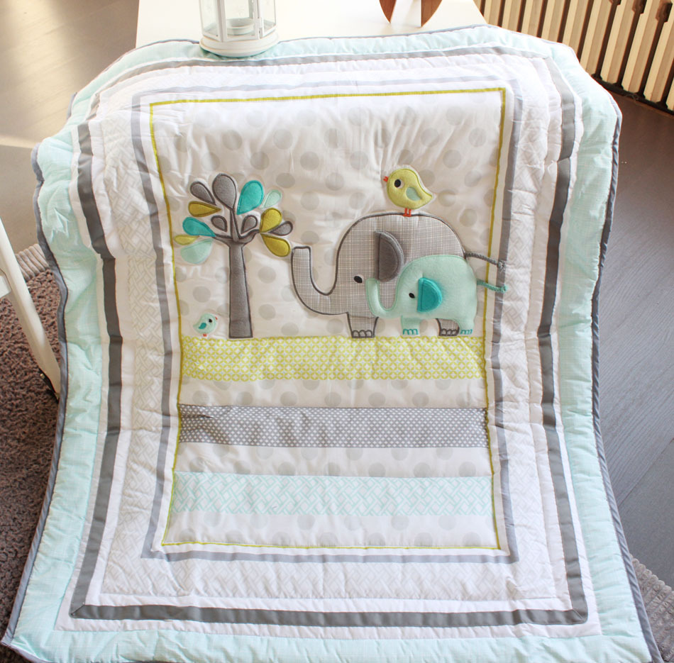 Crib protector for babies - New 7 Pcs Baby Bedding Set Baby Crib Bedding Sets Elephant Cartoon Baby Nursery Bedding Sets Quilt Bumper Sheet Skirt