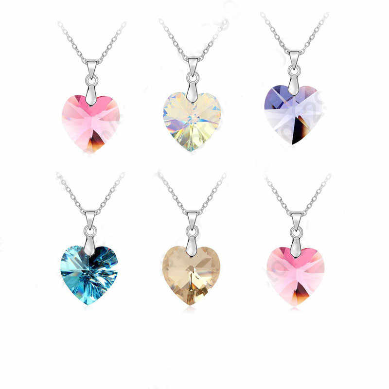 Wholesale Austrian Crystal 925 Sterling Silver Jewelry Heart Pendant Necklaces Hook Earrings Woman Accessories Gift