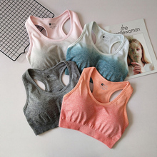 2018 New Ombre Seamless Sports Bra For Fitness Yoga Racerback Sport Bra Top With Removable Pad Push Up Gym Bra Active Wear цена