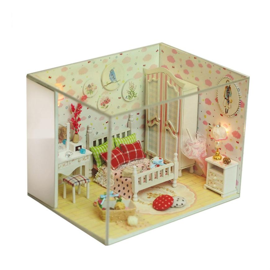 2018 Wooden DIY Miniature Doll House Furniture LED Doll House Decorate Crea 3sw0618