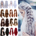 48cm Long Curly Wavy Full Wig Women Ladies New Stylish Synthetic Hair Wig 100% Quality