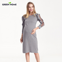 Green Home Winter Pregnancy Maternity Dress Nursing Special Lace Sleeve Clothing Breastfeeding Dresses for Pregnant Women