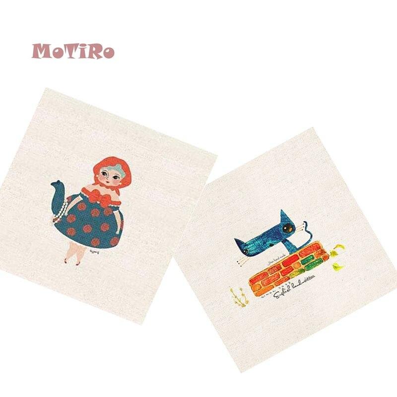 Fabric Adroit Motiro,2pcs/lot,cartoon Pattern Plain Hand Dyed Clot,cotton Linen Fabric Of Table Mat/mouse Pad/apron Pocket/pillow Decoration