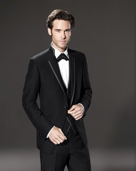 New Arrivals Black Mens Dinner Prom Suits Groom Tuxedos Groomsmen Wedding Blazer Suits (Jacket+Pants+Vest+Tie) K:2767