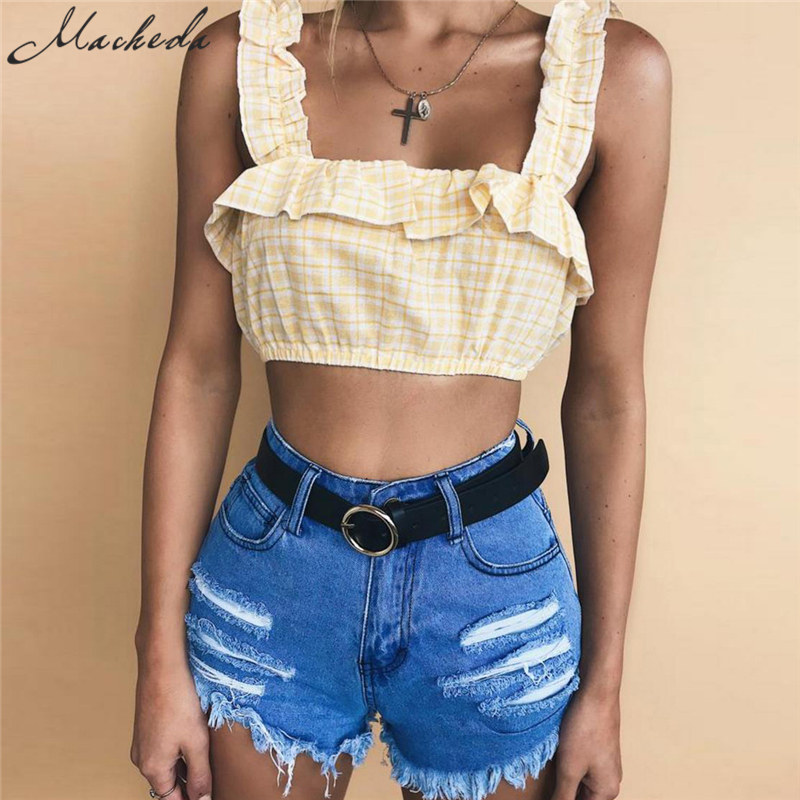 Macheda 2018 New Fashion Plaid Ruched Ruffles Short Camis Bustier Vest Crop Top Bralette Women Clothes Sleeveless Tanks Tops