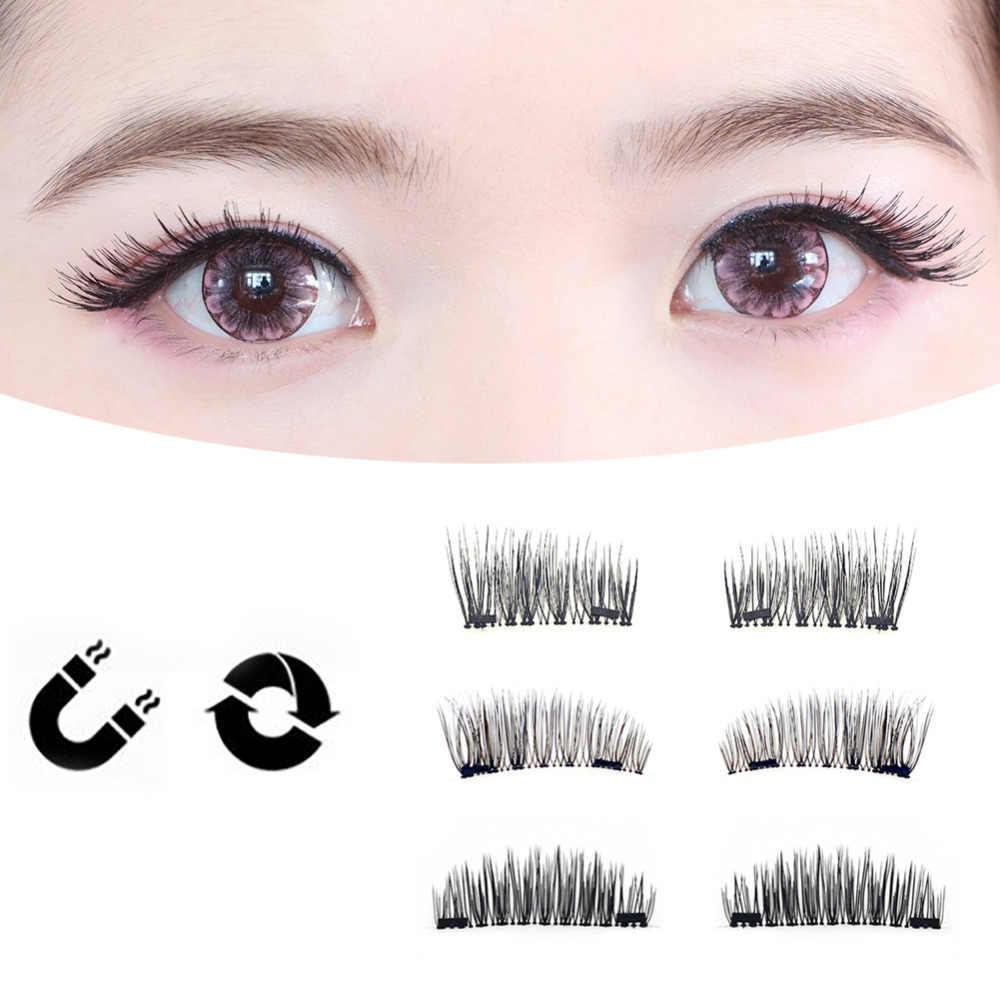 154ce4acb56 Fashion Magnetic Eyelash 4pcs/lot 3D Long Easy To Wear Reusable Fake  Eyelashes Double Magnet