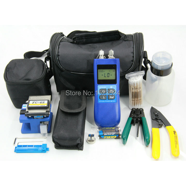 11 in 1 Fiber Optic FTTH Tool Kit with FC-6S Fiber Cleaver 10mw Visual Fault Locator Optical Power Meter , Fiber Optic Stripper11 in 1 Fiber Optic FTTH Tool Kit with FC-6S Fiber Cleaver 10mw Visual Fault Locator Optical Power Meter , Fiber Optic Stripper