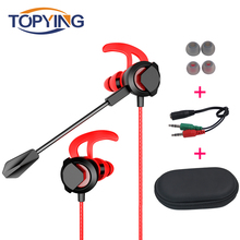 TOPYING PC Gaming Headset with Microphone In-Ear Bass Noise Cancelling Earphone with Mic for Phone Computer Gamer PS4 free shipping game gaming earphone new for pc mobile phone ps4 mic audio bass noise cancelling