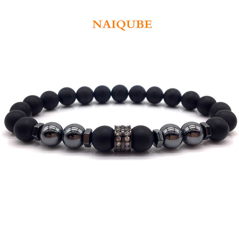 NAIQUBE Fashion Beaded Mens Bracelets 2019 New Trendy Classic Stone Bead Charm Bracelets For Men Jewelry Gift