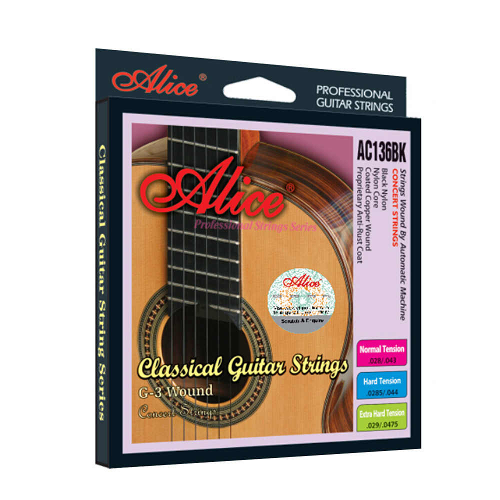 Alice AC136BK-H Hitam Nilon Klasik Gitar String 6 Pcs/set (0285-.044) Keras Ketegangan dengan Satu Gratis G-3rd String