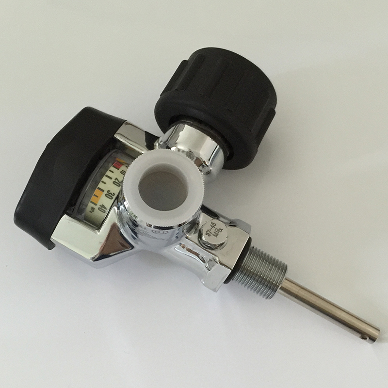 Hot Sale 30Mpa 4500psi SCBA Cylinder Valve Carbon Fiber Tank Compressed Air Cylinder Bottle Valve with Big Gauge-V