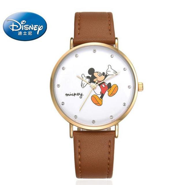 Disney 100% Genuine Wrist Watch Women Mickey Mouse Men Watch Top Brand Luxry Fam