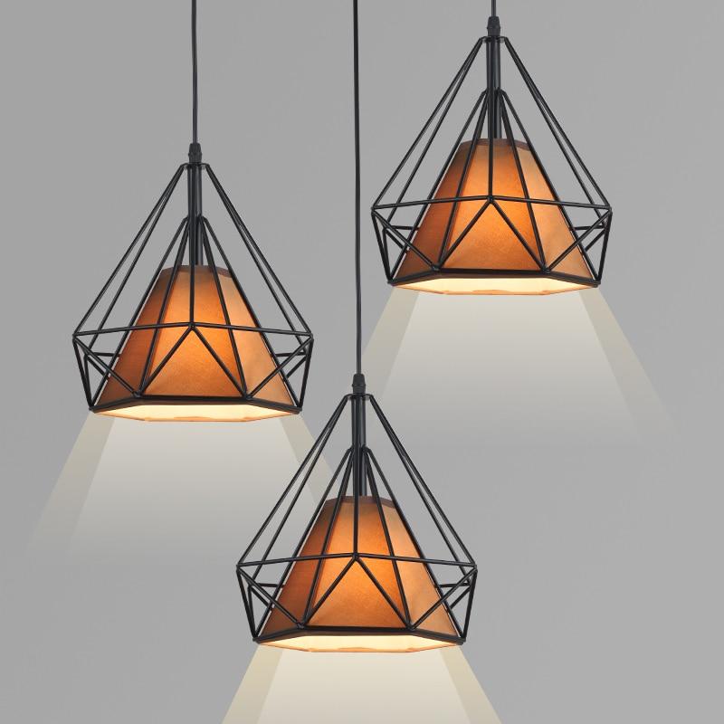 Loft Vintage Pendant Lamp Diamond Birdcage Retro Chandelier Light Restaurant Bar Hanging Lamps dining room Chandeliers ceili