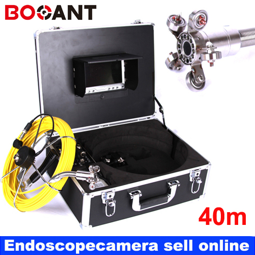 40m Fiber Glass Cable Waterproof Industrial Sewer Pipe Pipeline Inspection Underwater Camera 12Pcs Leds with 7 LCD monitor 20m cable fiber glass 7 tft lcd waterproof pipe sewer inspection camera ccd600tvl with meter accounter endoscope snake camera