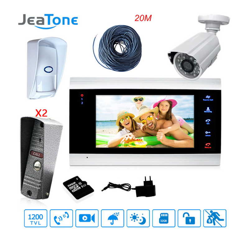 JeaTone 7'' Video Door Phone Intercom With Extra Outdoor CCTV Camera/PIR/32G SD Card/Adapter/20 Meter Wire Access Control System