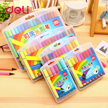 Deli 1pcs painting watercolor maker pens 18/24/36/48/100 colors washable markers gift for kids colored pen drawing supplies