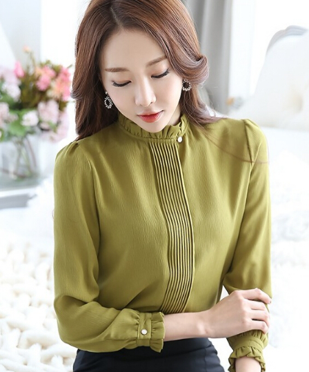 Free Shipping Korean OL Style Stand Collar Long Sleeve  New Arrival Pure Color Woman Chiffon Blouse
