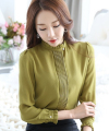 Free Shipping Korean OL Style Stand Collar Long Sleeve Spring New Arrival Pure Color Woman Chiffon Blouse