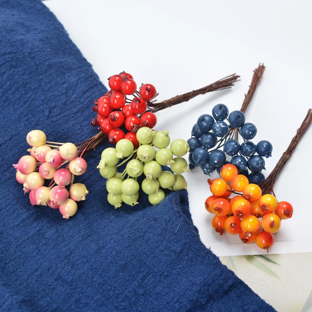 1cm 10 stücke Künstliche Blumen Staubblätter Mini beeren Bouquet kirsche Gefälschte Glatte Schaum Berry für Hochzeit Weihnachten Dekoration