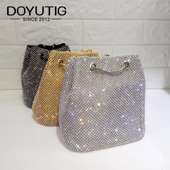 DOYUTIG Brand Shining Women PU Leather Bucket Bags With White Diamond Luxury Lady Mini Size Crystal Shoulder&Crossbody Bag A202