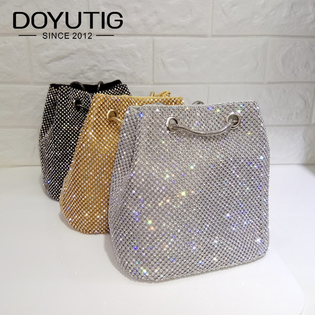 DOYUTIG Brand Shining Women PU Leather Bucket Bags With White Diamond Luxury Lady Mini Size Crystal Shoulder&Crossbody Bag A202
