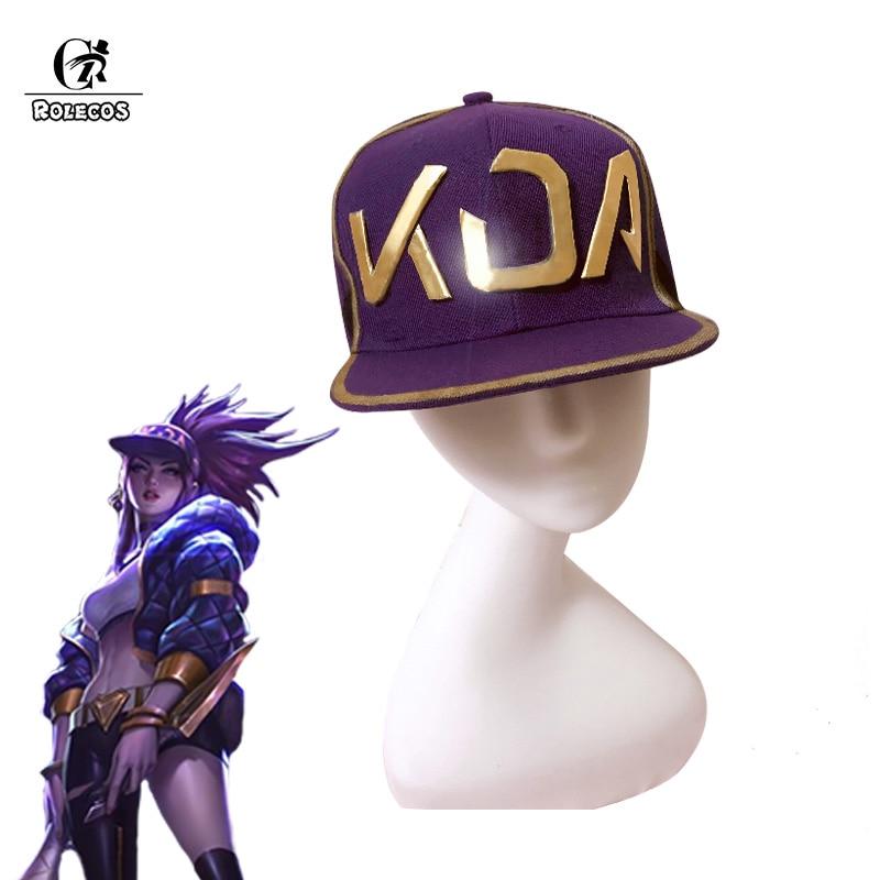 ROLECOS KDA AKALI Cosplay Hat LoL Akali Cosplay Mask K/DA Women Hat Mask for Men Game LoL Headwear