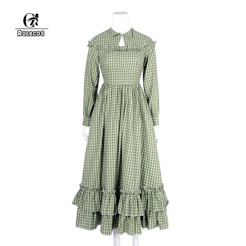 ROLECOS Cotton Check Plaid Dress Long Sleeve Women Lolita Dress Renaissance Victorian Dress Christmas Party Clothing