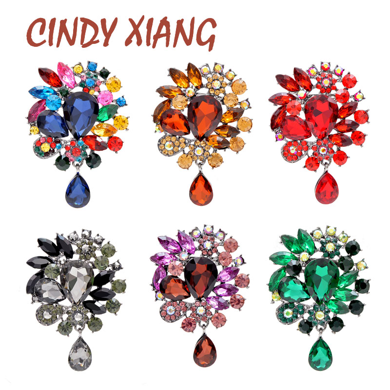 CINDY XIANG New Arrival Large Crystal Water-drop Flower Brooches For Women Wedding Bouquet Brooch Pin Coat Bag Accessories Gift