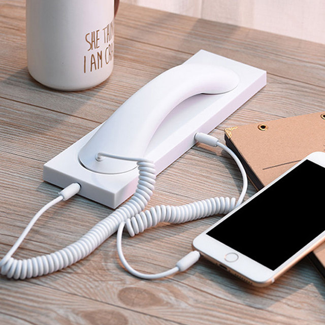 2020 New 3.5mm Anti radiation Retro Telephone Handset Headphone Receiver with Mic For iPhone Samsung Handsets with Base