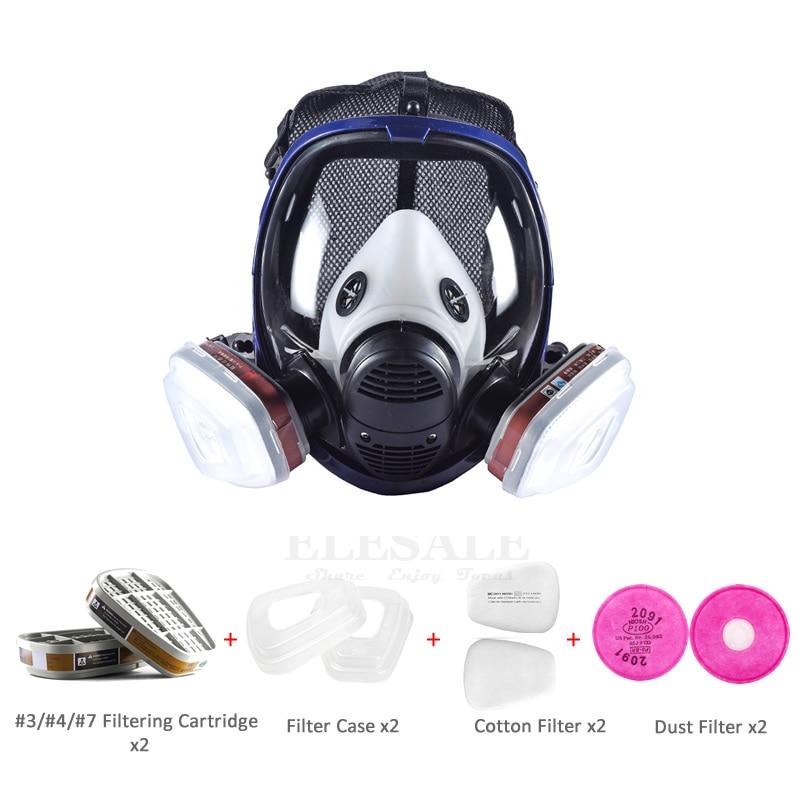 Masque complet 6800 9-en-1 Set respirateur à gaz anti-poussière avec double cartouche filtrante pour peinture pulvérisation similaire pour masque 3 M 6800