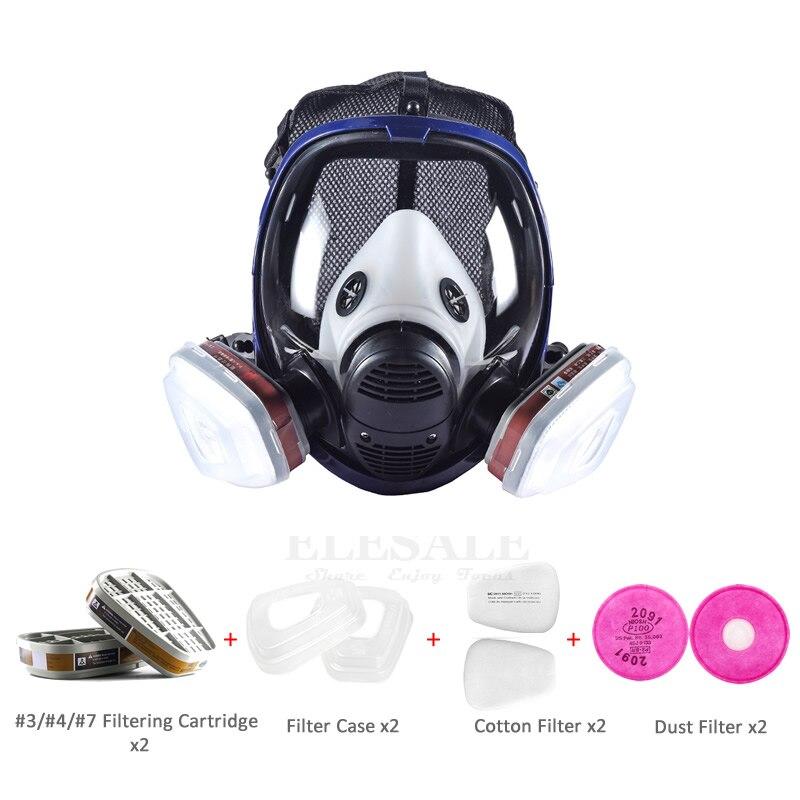 Masque complet 6800 9-en-1 Set respirateur à gaz anti-poussière avec double cartouche filtrante pour peinture pulvérisation similaire pour masque 3M 6800