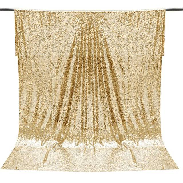 Overvalue 4ft 6ft Champagne Gold Sequin Fabric Photo Backdrop