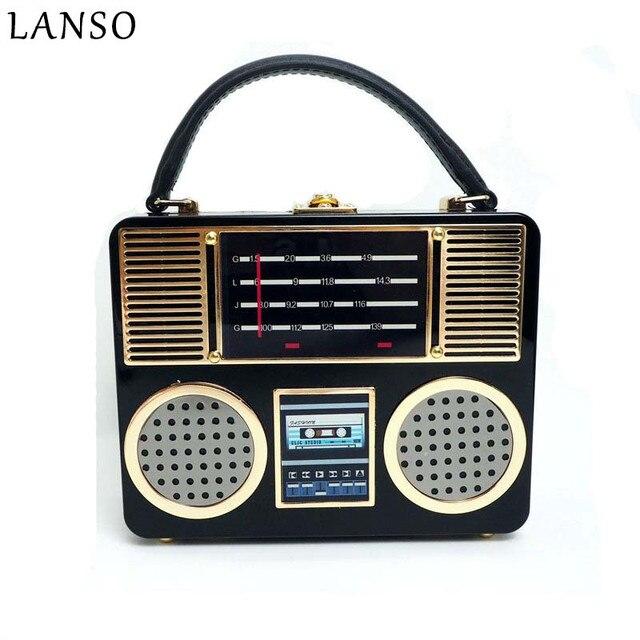 LANSO Fashion Creative Radio Design Handbags Tote Retro Personality ...