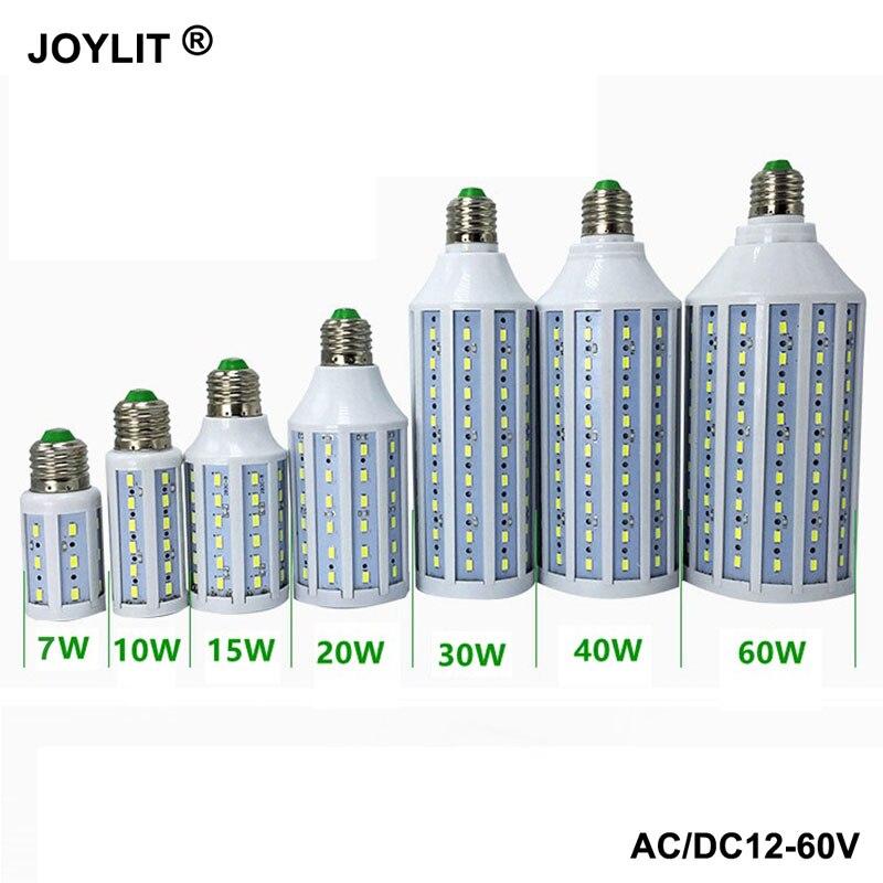 10 pièces DC 12 V AC/DC 12-60 V 6000 k 7 w 10 w 15 w 20 W 30 W 40 W 60 W E27 36 V smd 5730 lumière led ampoules de maïs chaud/frais blanc