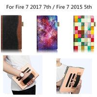 עבור ללבות אש 7 מקרה כיסוי עור Folio PU עבור כל חדש אש אמזון ל-5 תצוגת 2015 & דור 7 Tablet 7 אינץ 2017