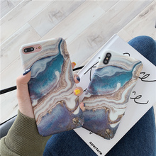 Blue star river marble phone Case For iphone XS Max XR Matte hard plastic case for 6 6s 7 8 plus cover