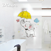 DICOR New Cartoon Elephant Stained Window Film Animals Frosted No-glue Static Privacy Glass For Home Decor Stickers BLT1406